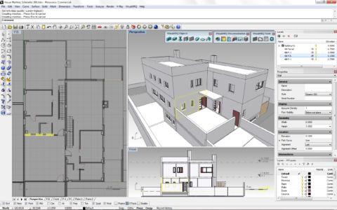 Архитектурный проект и план этажей промышленного здания в Райноцерос 3д