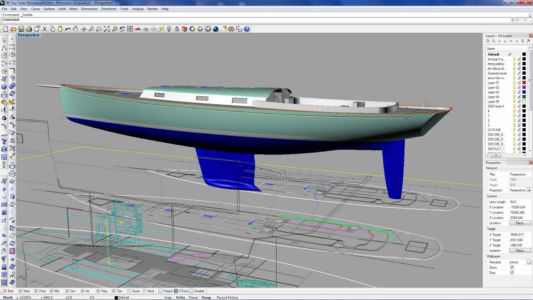 Парусная яхта в Рино 3д и ее чертежи сгенерированные штатными инструментами программы