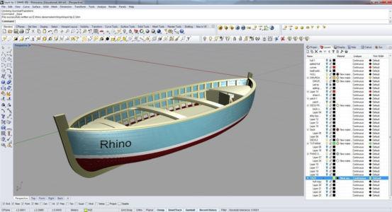 Спасательная шлюпка в 3D с надписью Rhino на борту