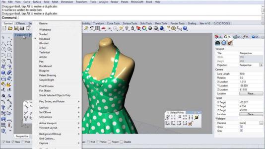 Выкройка платья на виртуальном манекене в программе Риноцироз