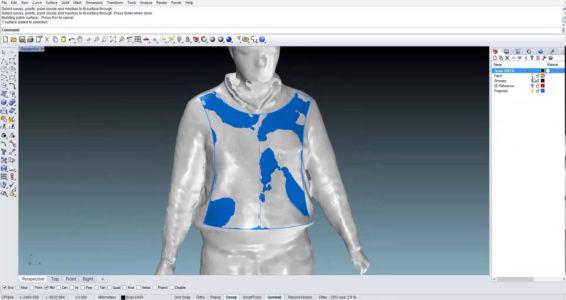 Проектирование мужской куртки  в Риноцероз 3д по отсканированному манекену