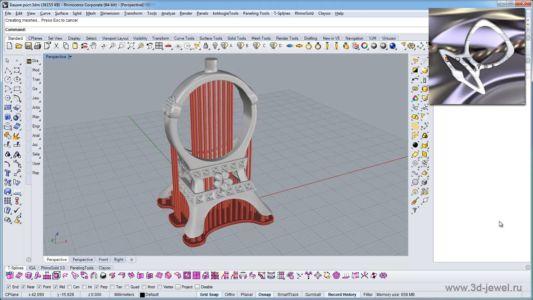 Ювелирное кольцо в виде Эйфелевой башни созданное в программе Rhinoceros с поддержками для прототипирования