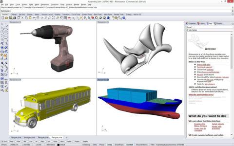 Трехмерный логотип Rhinoceros 3D и модели объектов говорящие об универсальности программы