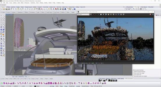 Художественная сцена из Риноцерос 3д с яхтой и мегаполисом на заднем плане