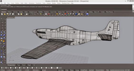 Модель моторного самолета в Рино 3д с измененной цветовой гаммой интерфейса программы