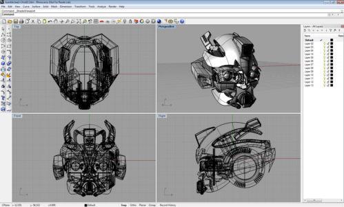 Модель головы робота в Райноцерос 3д из фильма Трансформеры