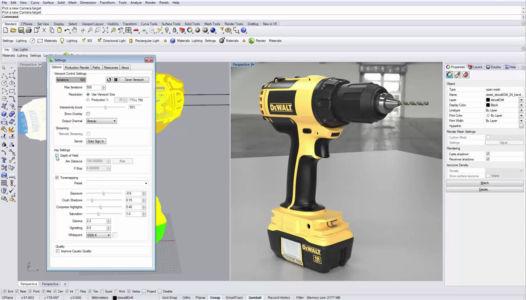 Модель дрели-шуруповерта в Райноцерос 3д в режиме интерактивного рендеринда