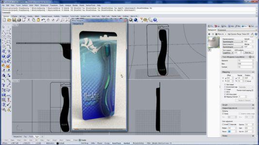 Модель и рендер зубной щетки и упаковки для нее из программы Rhino 3D