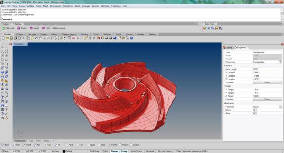 Лопатка турбины изготовленная в Риноцероз 3д в яроко-красном шейдинге