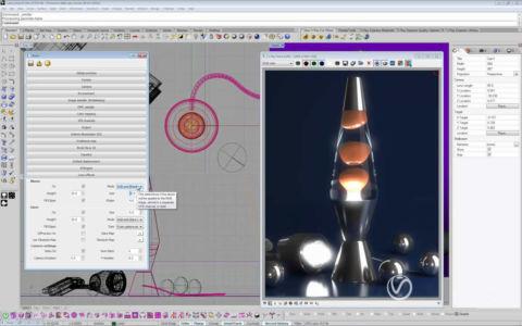 Модель настольного светильника в Риноцироз 3д отвизуализированная в программном рендере