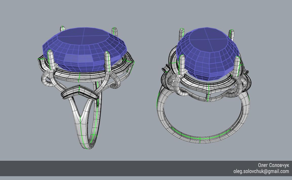 Кольцо с овальной вставкой и узким ярусом, построенное в Rhinoceros и T-Splines учеником Виталия Каваз-оглы - Олегом Соловчуком - Топология. Общий вид.