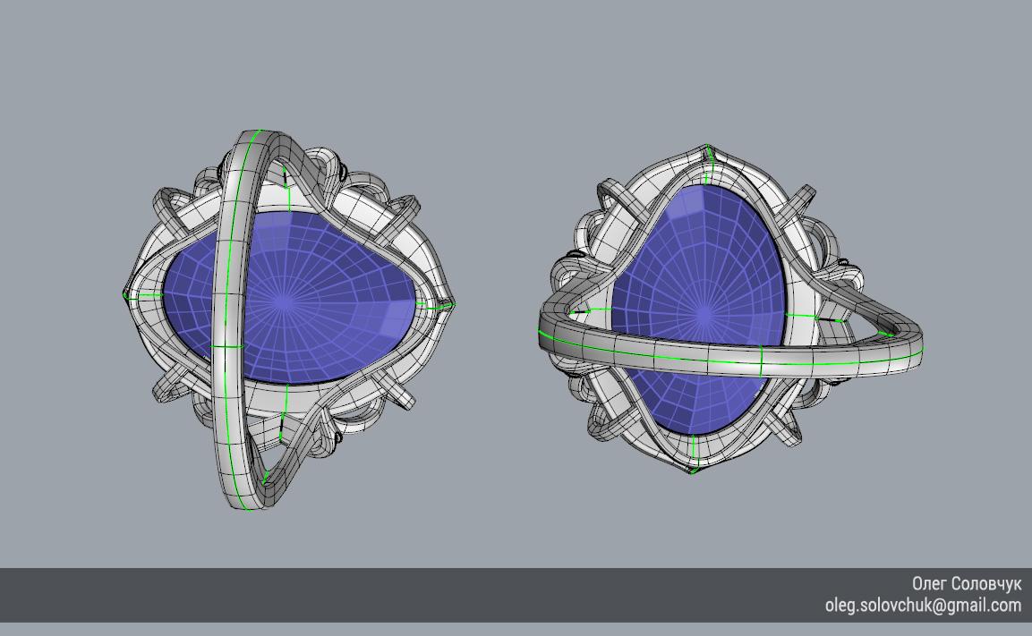 Кольцо с овальной вставкой и узким ярусом, построенное в Rhinoceros и T-Splines учеником Виталия Каваз-оглы - Олегом Соловчуком - Топология. Вид снизу.