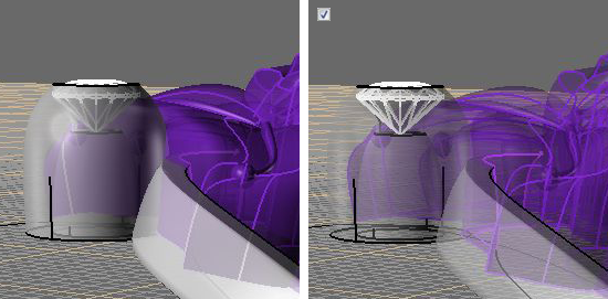 Опция Transparency для режима Ghosted в настройках Rhino 4, 5 и 6 - Визуальный пример.