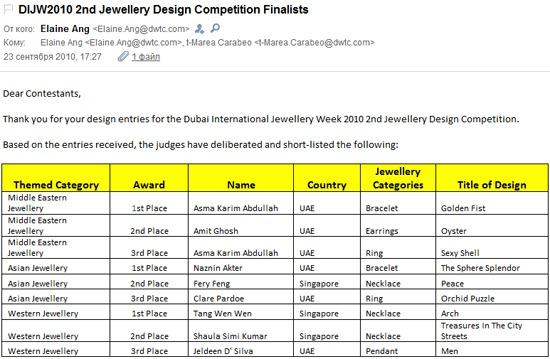 Письмо от организаторов конкурса ювелирного дизайна на Dubai International Jewellery Week со списком победителей 2011.