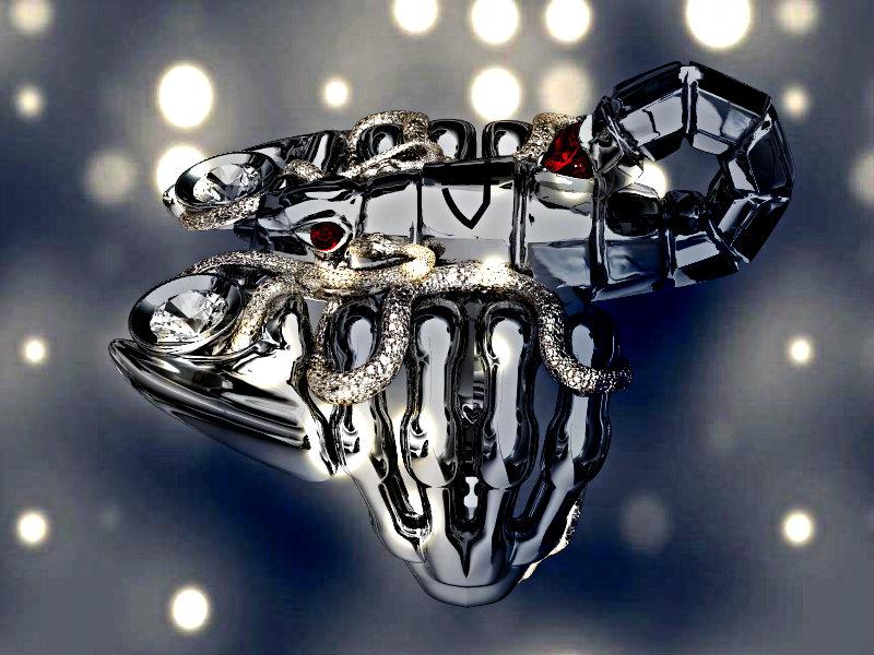 Дизайнерское ювелирное украшение в виде скорпиона, обвитого змеями - альтернативный ракурс