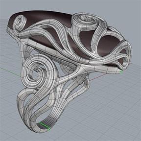 Выполненные в T-Splines 4 кольца с большими каплевидными вставками и орнаментом. Топологическая сетка. Ракурс 2