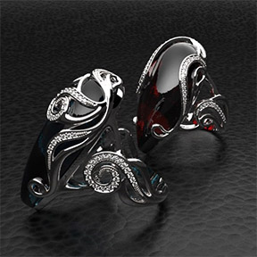 Выполненные в T-Splines 4 кольца с большими каплевидными вставками и орнаментом