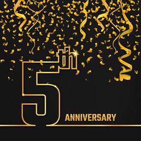 Золотая цифра 5 и золотые конфети на черном фоне