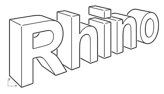 Надпись Rhino, выполненная при помощи инструмента Make 2D в Rhinoceros 6.
