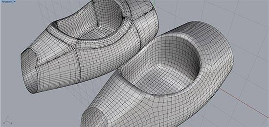 Техническая деталь в Rhino 6, созданная обычным способом и по технологии QuadMesh. Пример 2.
