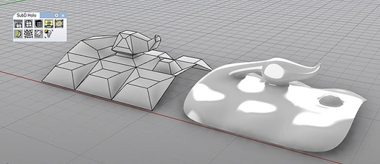 Абстрактная фигура в Rhino 6, созданная по технологии Sub-D.