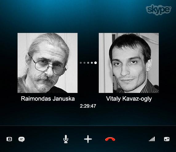 Заставка скайп-интервью Виталия Каваз-оглы с Раймондасом Янушкой
