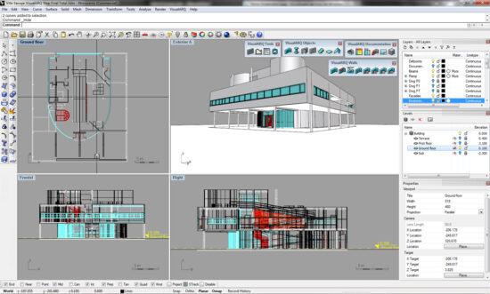 Архитектурный проект многоэтажной виллы в программе Rhinoceros 3D