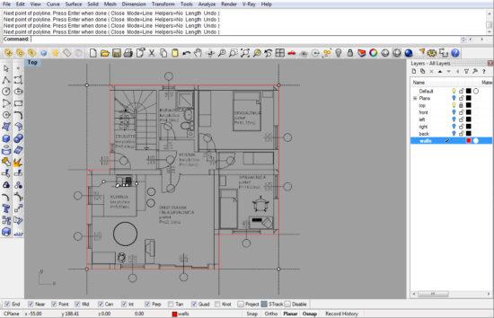 Планировочный чертеж этажа жилого дома в Райно
