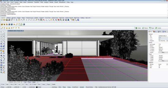 Ландшафтный дизайн территории вокруг апартаментов в программе Рино 3д