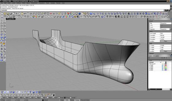 Набросок корпуса грузового судна созданный в программе Rhinoceros 3D и T-Splines