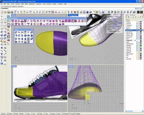 Проектирование левого кроссовка в Rhino 3D и T-Splines