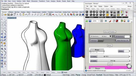 Проектирование лекал платий в программе Rhinoceros 3D с изменяемыми в Grasshopper параметрами