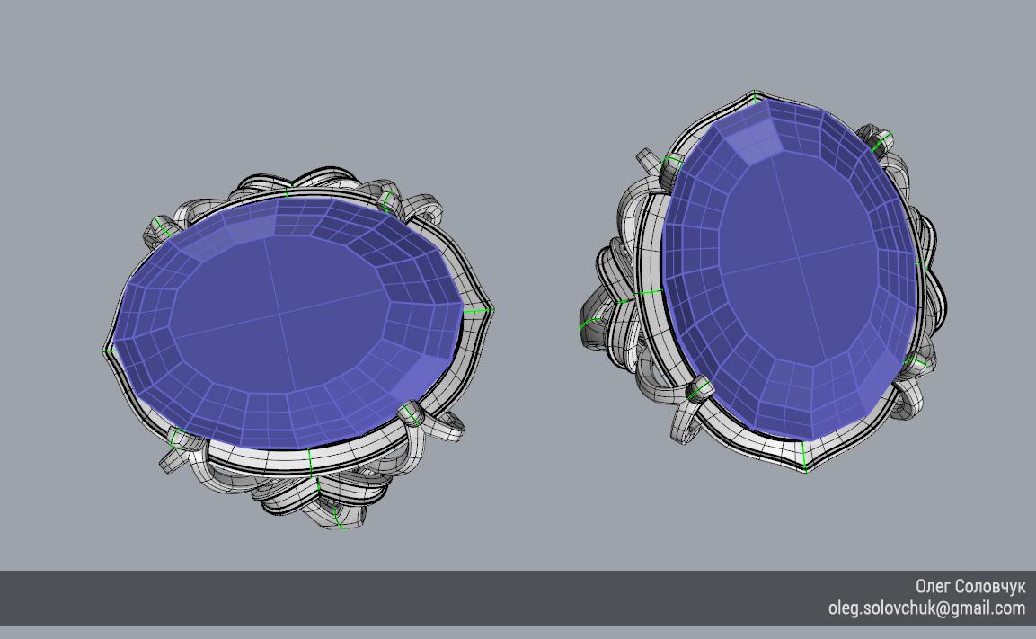 Кольцо с овальной вставкой и узким ярусом, построенное в Rhinoceros и T-Splines учеником Виталия Каваз-оглы - Олегом Соловчуком - Топология. Вид сверху.