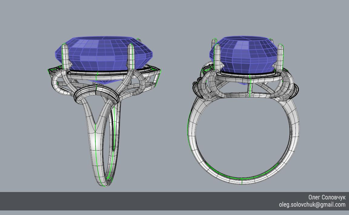 Кольцо с овальной вставкой и узким ярусом, построенное в Rhinoceros и T-Splines учеником Виталия Каваз-оглы - Олегом Соловчуком - Топология. Вид сбоку.