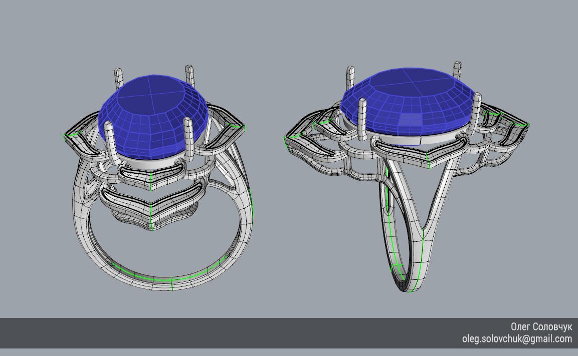 Кольцо с овальной вставкой и широкими ярусами, построенное в Rhinoceros и T-Splines учеником Виталия Каваз-оглы - Олегом Соловчуком - Топология. Общий вид.