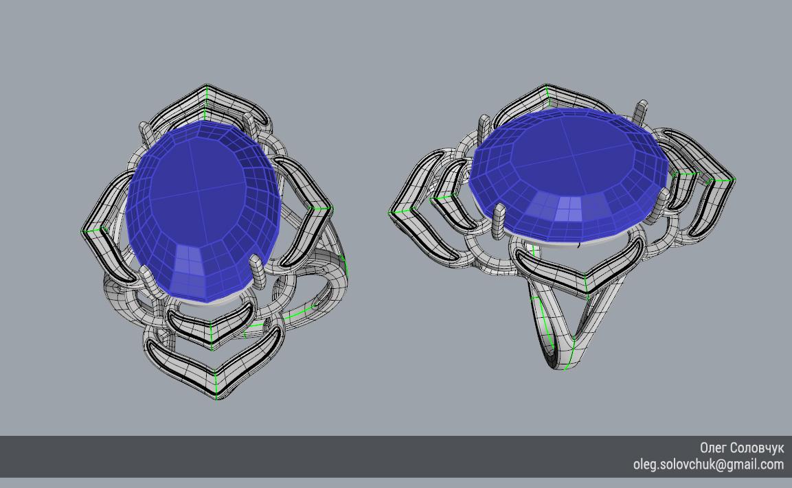 Кольцо с овальной вставкой и широкими ярусами, построенное в Rhinoceros и T-Splines учеником Виталия Каваз-оглы - Олегом Соловчуком - Топология. Вид сверху.