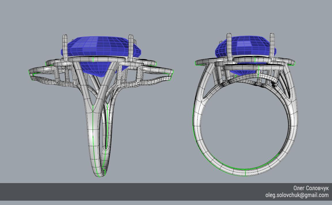 Кольцо с овальной вставкой и широкими ярусами, построенное в Rhinoceros и T-Splines учеником Виталия Каваз-оглы - Олегом Соловчуком - Топология. Вид сбоку.