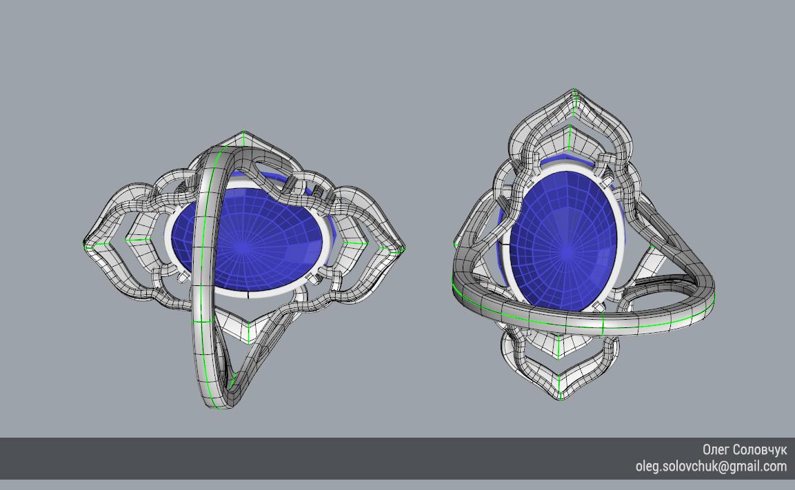 Кольцо с овальной вставкой и широкими ярусами, построенное в Rhinoceros и T-Splines учеником Виталия Каваз-оглы - Олегом Соловчуком - Топология. Вид снизу.