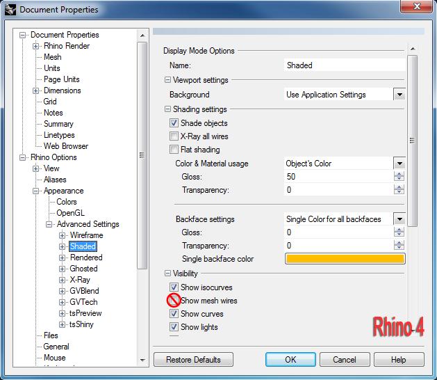 Опция Show mesh wires в настройках Rhino 4.