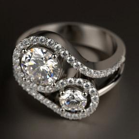 Кольцо извивающегося профиля с двумя крупными бриллиантами, построенное в T-Splines