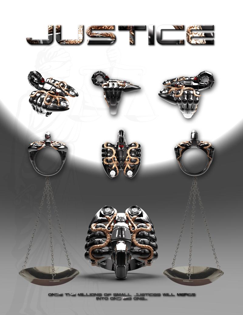 Дизайн-проект индивидуального ювелирного украшения в виде скорпиона, обвитого змеями - JUSTICE