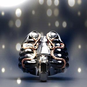 Дизайнерское ювелирное украшение в виде скорпиона, обвитого змеями