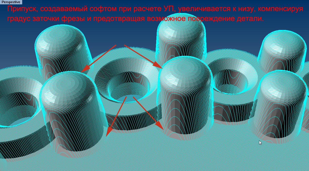 Пример конических припусков на корнерах, образующихся под в результате построения управляющей программы для фрезерования ювелирной 3D-модели