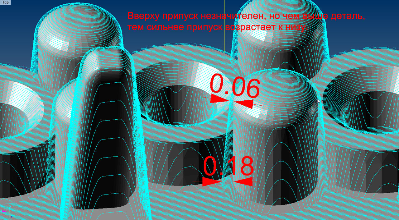 Размеры конических припусков на корнерах, образующихся под в результате построения управляющей программы для фрезерования ювелирной 3D-модели