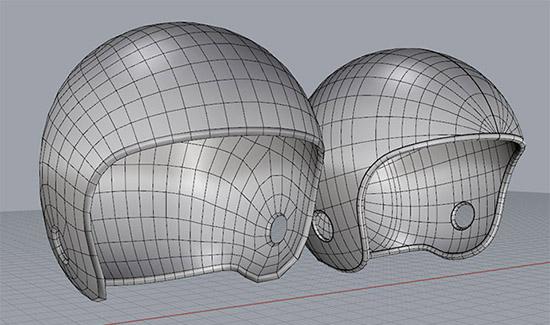 Модели шлемов в Rhino 6, созданные обычным способом и по технологии QuadMesh. Пример 3.