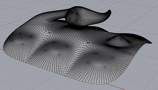 Абстрактная фигура в Rhino 6, созданная по технологии Sub-D с примененной группой сглаживания.