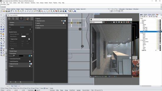 Дизайн интерьера кухни в программе Риноцерос 3д