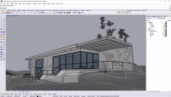 Архитектурный проект бунгало в программе Риноцероз с элементами ландшафтного дизайна