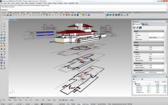 Архитектурный проект и план этажей особняка в программе Райноцероз