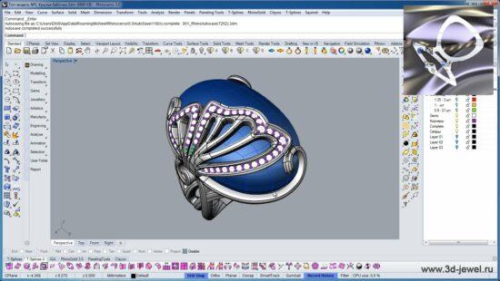 Ювелирное кольцо в форме бабочки в программе Риноцироз с овальной вставкой